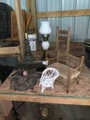 Lamps, Barn Stars, Miniature Wicker Chairs
