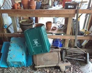 Reel Mower, Cast Iron Stove, Plastic Tubs