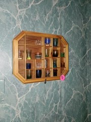 SMALL SHADOW BOX WITH MISC. SHOT GLASSES