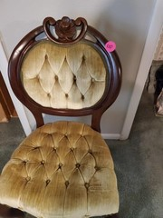 VINTAGE VELVET ROSE CARVED CHAIR