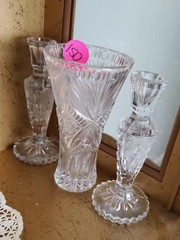 NICE CRYSTAL ROSE CANDLESTICKS AND VASE