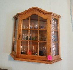 SMALL WALL SHADOW BOX - FULL OF SHOT GLASSES
