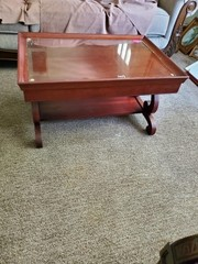 NICE GLASS TOP COFFEE TABLE