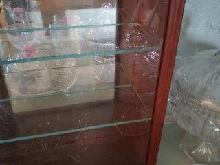SMALL WOOD DISPLAY CASE- 3 GLASS SHELVES