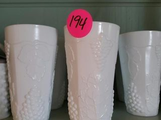 GRAPE AND LEAF MILK GLASS SET OF GLASSES 10 TOTAL
