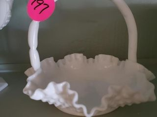 HOBNAIL RUFFLE BASKET - MILK GLASS