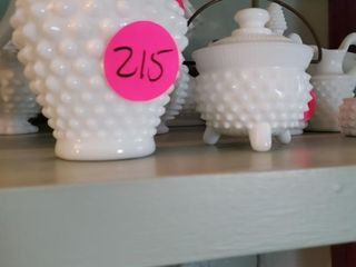 HOBNAIL VASE AND SUGAR BOWL