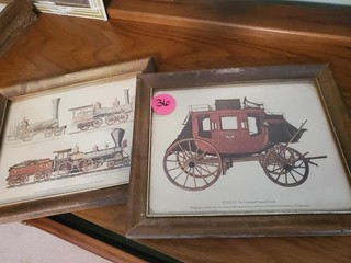 OLD FRAMED PRINTS - STAGE COACH / RAILROAD