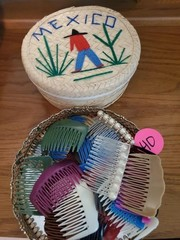 MEXICAN TRINKET BOX AND OLD HAIR COMBS