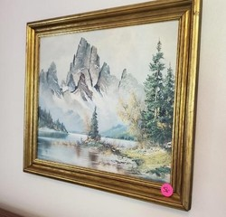 NICE GOLD FRAME MOUNTAIN PICTURE