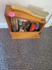 WOODEN SHOE SHINE BOX AND EXTRAS