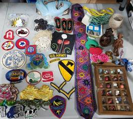 Collectibles: Patches, Miniature Shadow Box, Holland Shoes, Wood Carvings