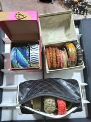 Lot Of Assorted Bangles & Cuffs With 3-Storage Cases