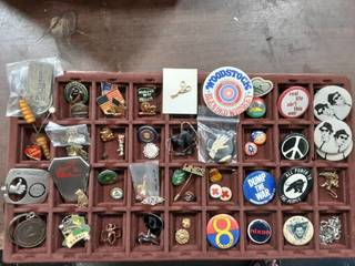 Assorted Lot Of Charms, Pins, Fobs, Collectibles