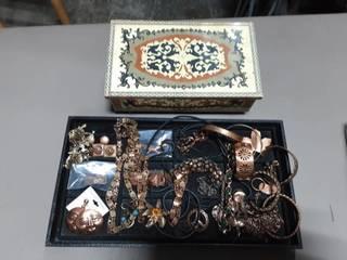 Lot Of Copper Jewelry & Jewelry Box