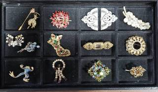 Lot Of Rhinestone Brooches & Misc