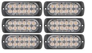 NEW (6) AMBER STROBE 12 LED 12V LIGHT 12VSTR