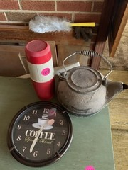 CLOCK, THERMOS, CAST IRON POT