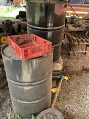2 METAL BARRELS AND RAIN GAUGE