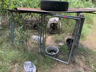 CHAIN LINK DOG PEN & DOG HOUSE
