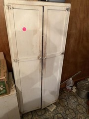 ANTIQUE KITCHEN CABINET W/ CONTENTS