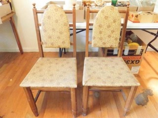 Wood Dining Chairs  Vinyl Seats Back  2