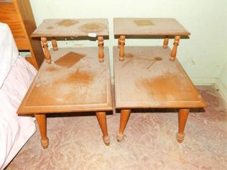 Wood End Tables  2  22  tall x 25  x 17
