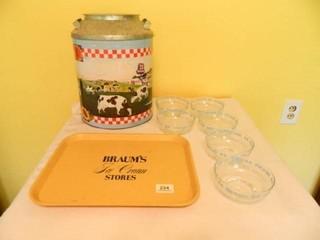 Braum s Glass Bowls 6  Tray