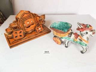 Donkey Cart Signed   d  Wood Burned Crafts