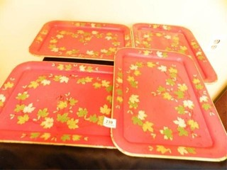 Trays; 4-Metal Trays w/leaves