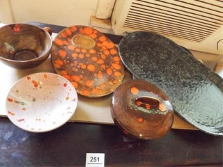 Ceramic Pottery Trays  Bowls  5    Marked