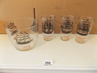 Glassware with Ships  Cups  Ice Bucket  4