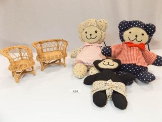 Stuffed Bears  3  Wicker Doll Chairs