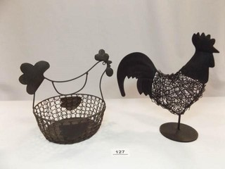 Wire Rooster  Chicken Basket  Black