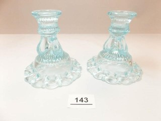 Glass Candleholders  light Blue  2