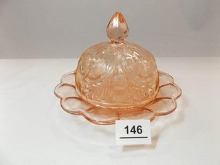 Glass Domed Piece  Pink