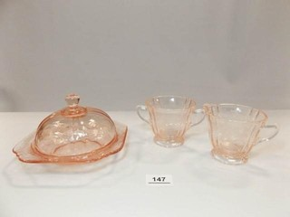 Glass Domed Piece  Cream   Sugar  Pink