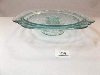 Glass Pedestal Cake Plate  Blue