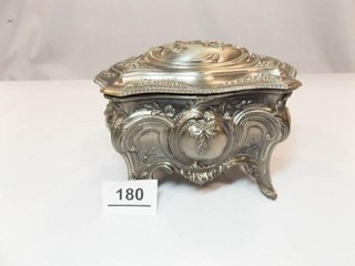 Vintage Silver Tone Trinket Box  Japan