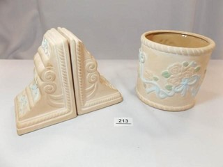 Floral Canister  Floral Bookends