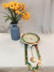 Heirloom Wall Clock  Blue Vase w  Flowers