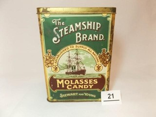 Steamship Brand Molasses Candy Tin