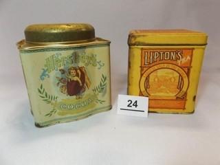 Hershey s Cocoa  lipton Tea Tins