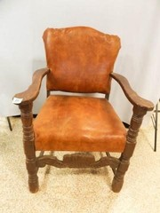 Wood Upholstered Chair 35  x 25  x 19