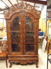 Carved Wood Display Cabinet  81  x 39  x 16