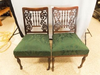 Wood Chairs  Upholstered Seats  Casters  2