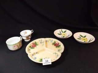 Bahl Pottery Plate  Bowls  2  Cups  2