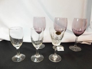 Purple Wineglasses  3  Glasses  3