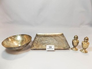 Hammered Metal Plate  Bowl  S   P