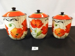 Poppy Canister Set  3 Piece